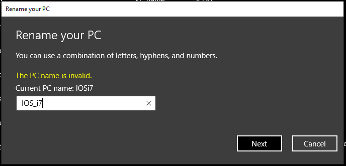 Use of underscore character in host name is not permitted in Windows 10