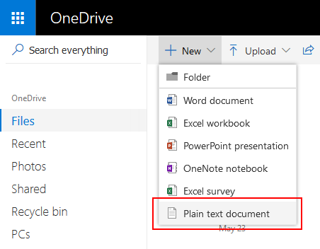 Create a new Plain text file directly in OneDrive