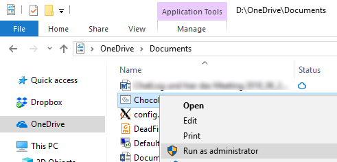 Access your batch file in your local OneDrive Documents folder