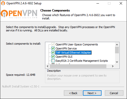 Choose Components during the setup of OpenVPN
