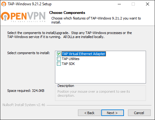 Install the OpenVPN tools for TAP-Windows based on NDIS